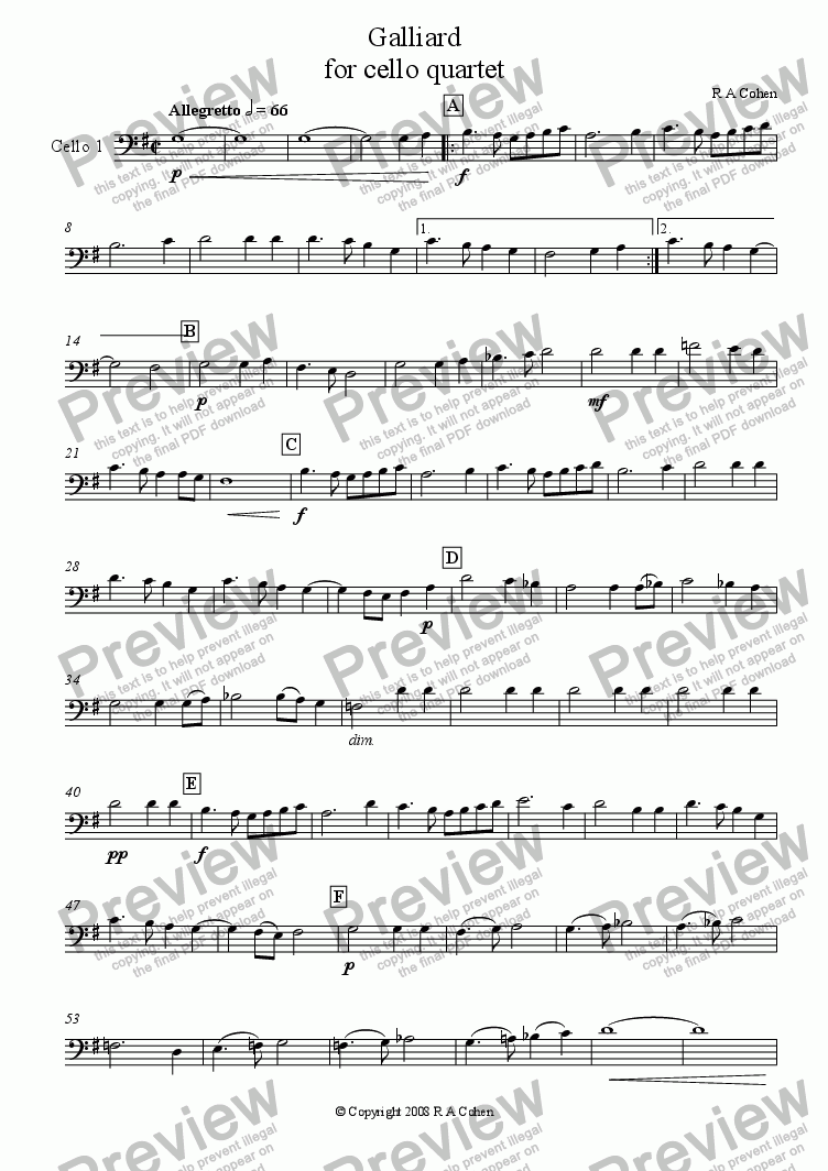 page one of the cello 1 part from GALLIARD - for four cellos