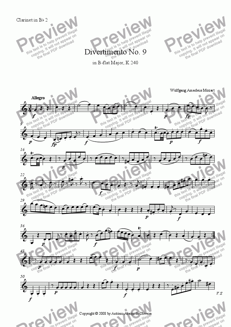 page one of the Clarinet in Bb 02 part from Divertimento No.9 in Bb major, K.240