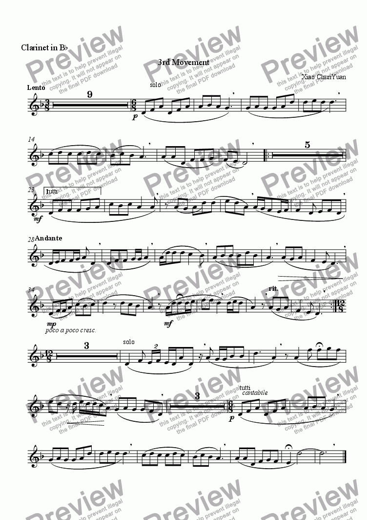 page one of the Clarinet In Bb part from Suite For Clarinet In Bb & Piano In C Minor  , 3rd Movement