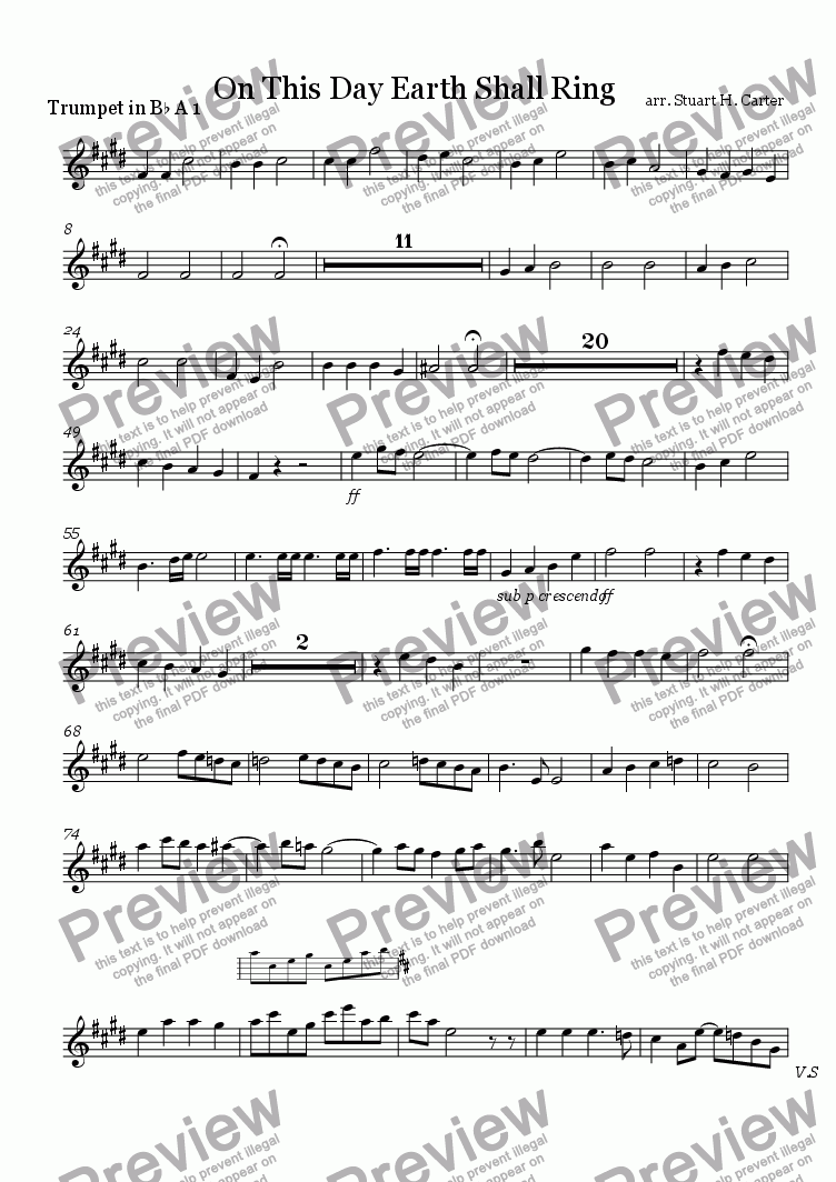 page one of the trumpet A 1 part from On This Day Earth Shall Ring