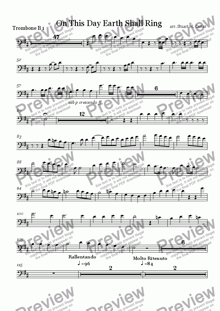 page one of the trombone B 1 part from On This Day Earth Shall Ring