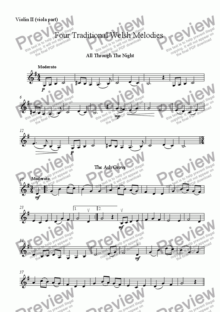 page one of the Violin II (viola part) part from Four Traditional Welsh Airs for String Trio