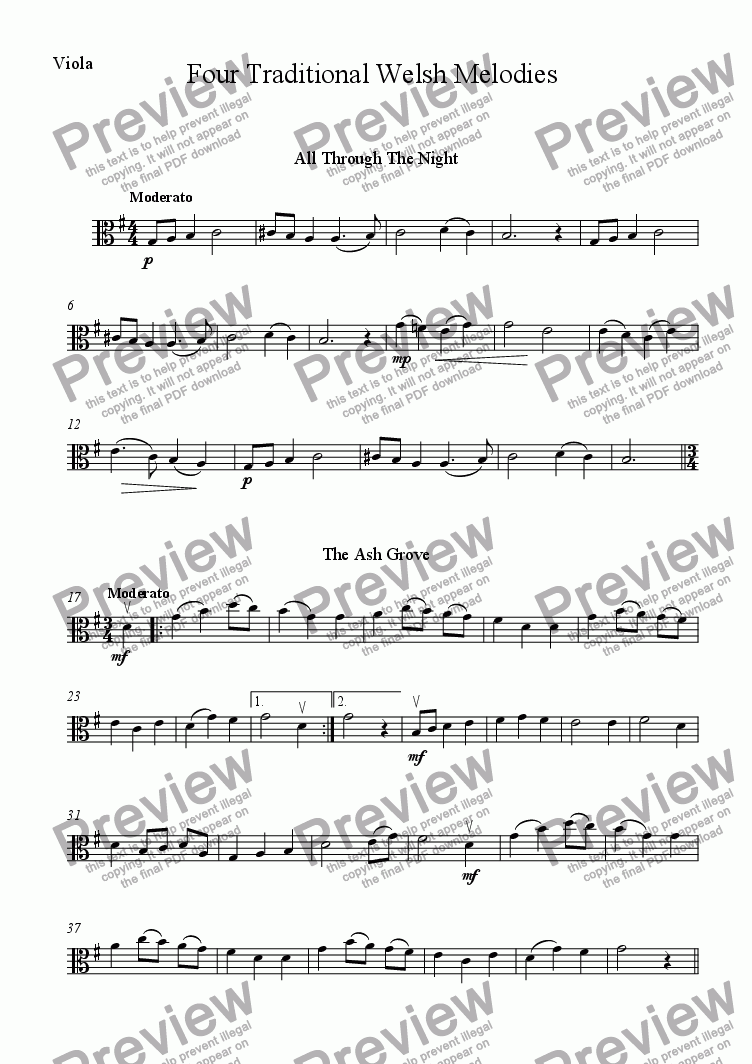 page one of the Viola part from Four Traditional Welsh Airs for String Trio