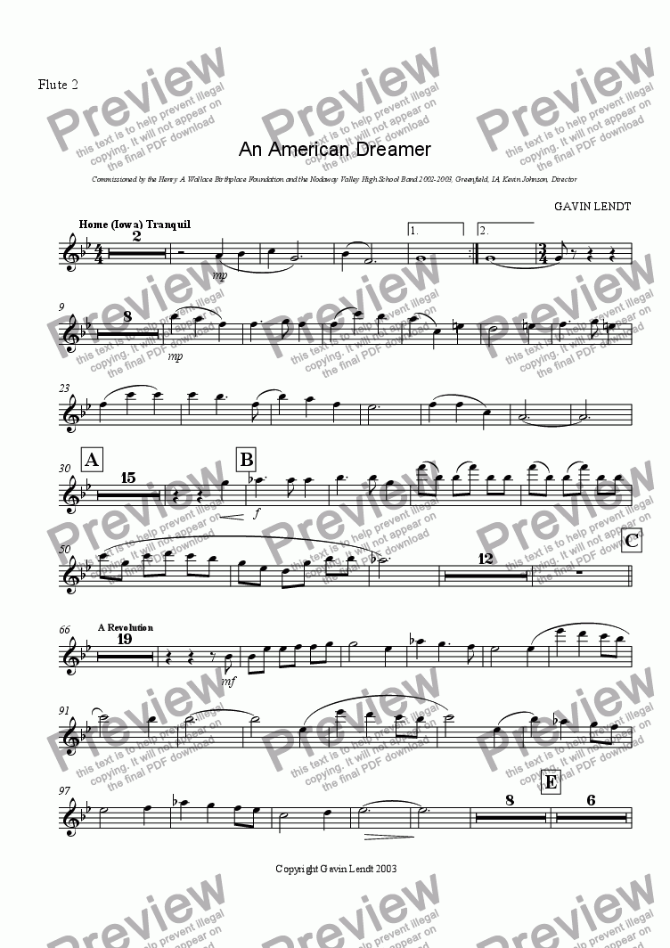 page one of the Flute 2 part from An American Dreamer