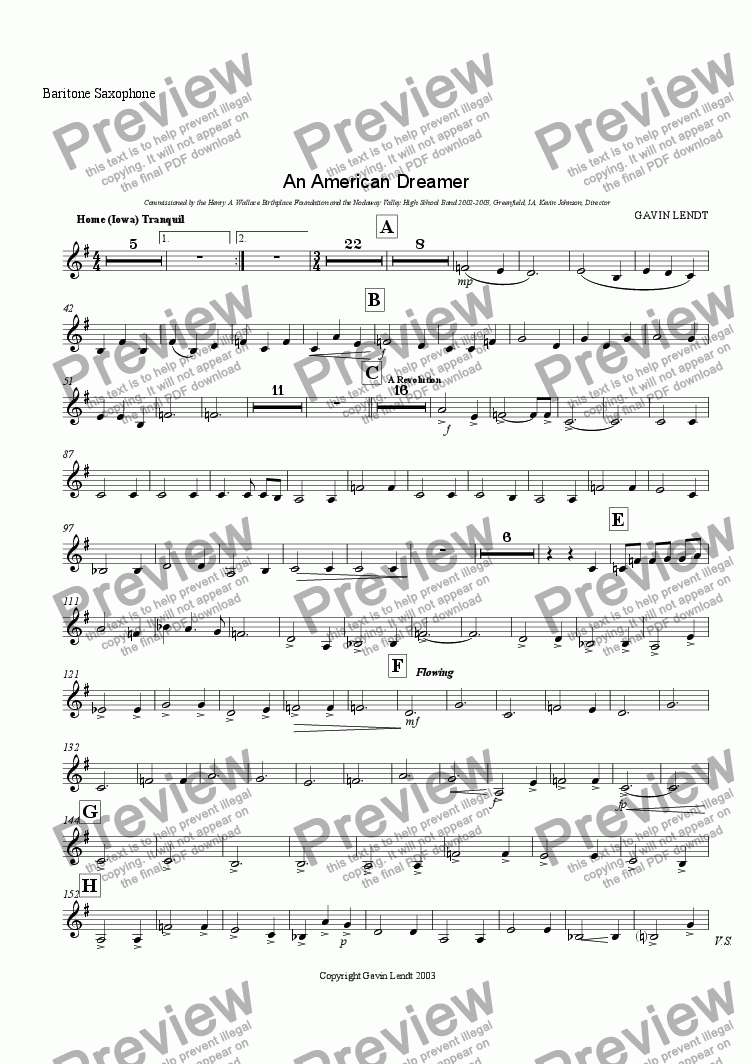 page one of the Bari Sax part from An American Dreamer