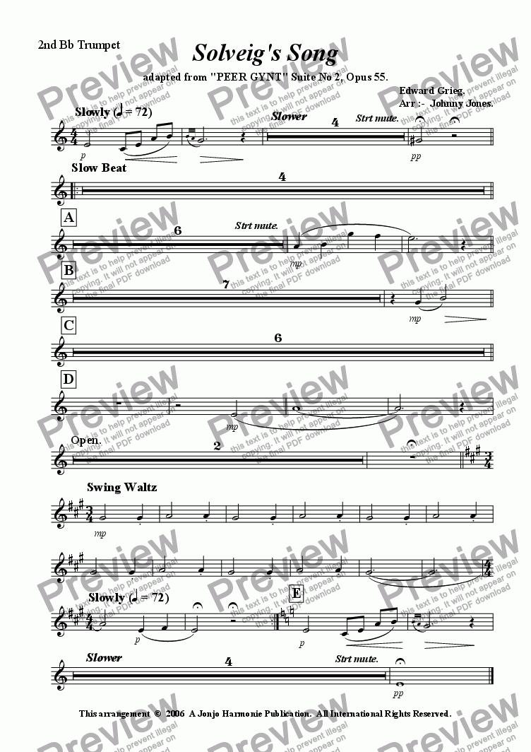 page one of the 2nd Bb Trumpet part from Solveig's Song  ( Slow Beat and Jazz Waltz  6 + Brass and Drums )