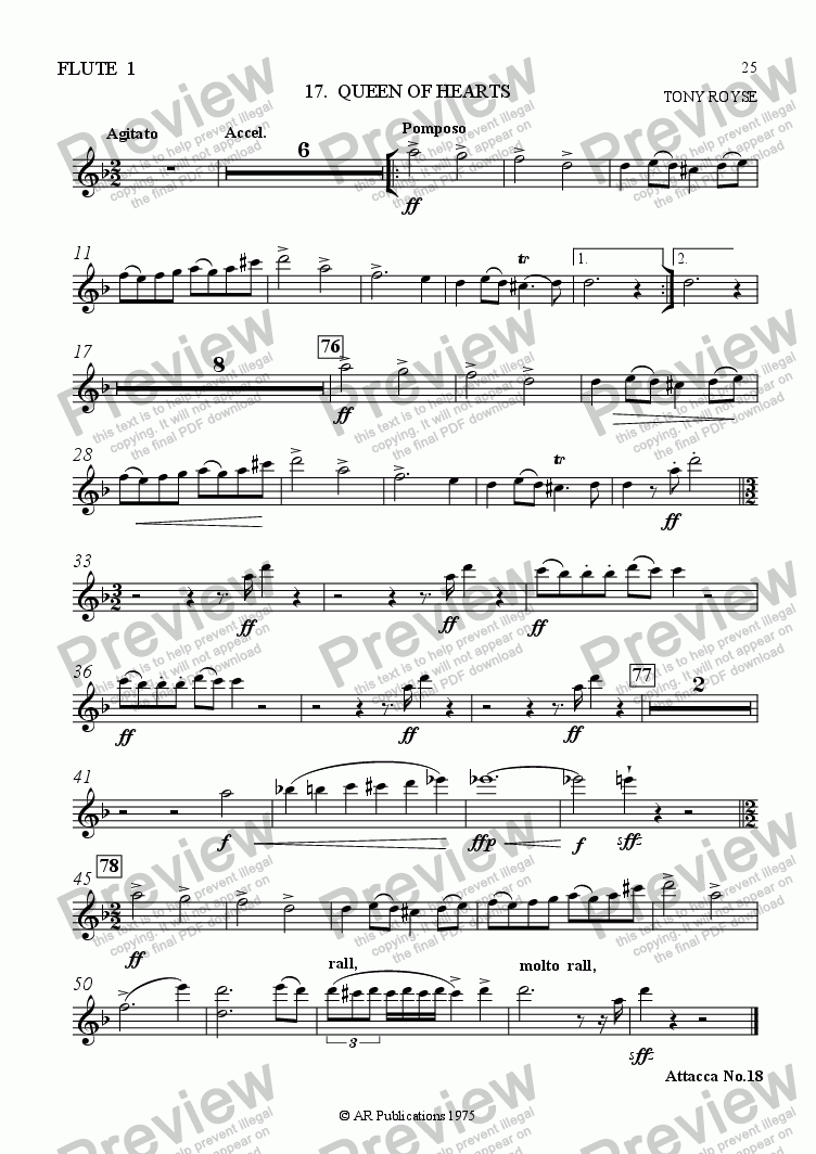 page one of the Flute 1 part from Ballet: Alice In Wonderland (Act 2 - No. 17) The Queen!