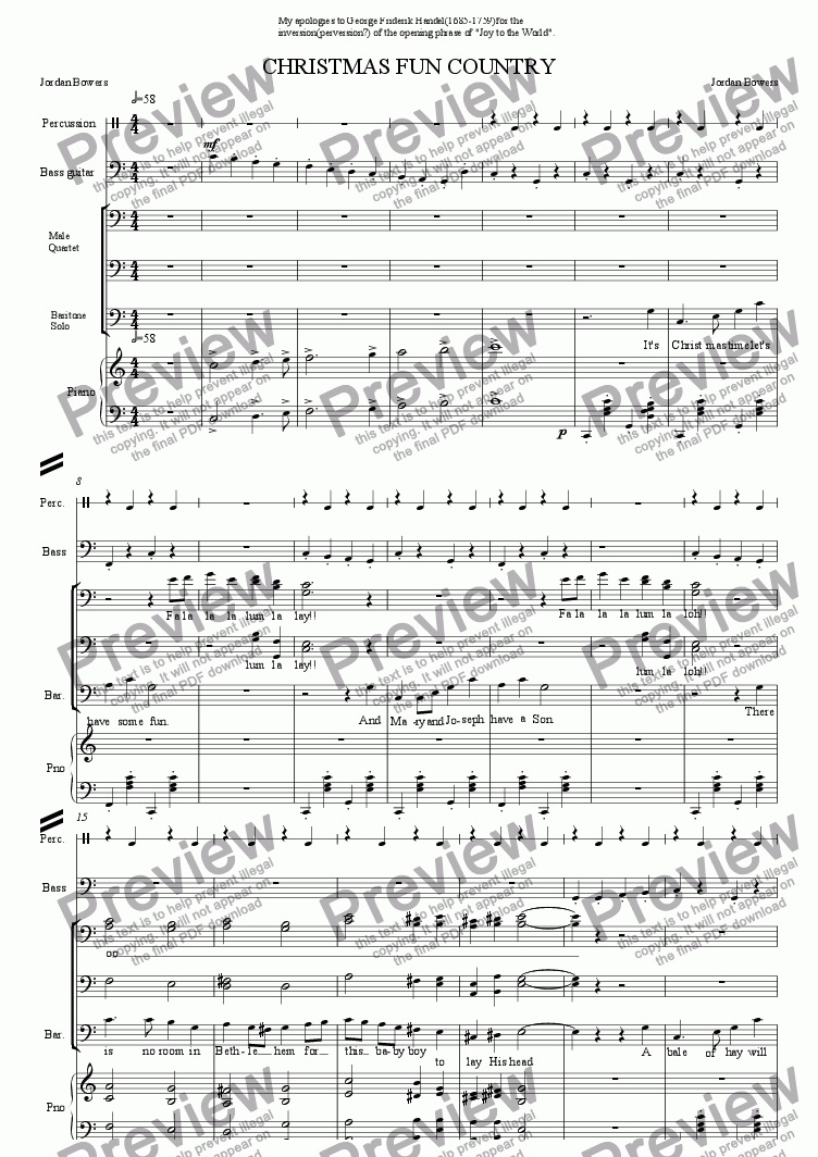page one of the percussion part from Christmas Fun Country