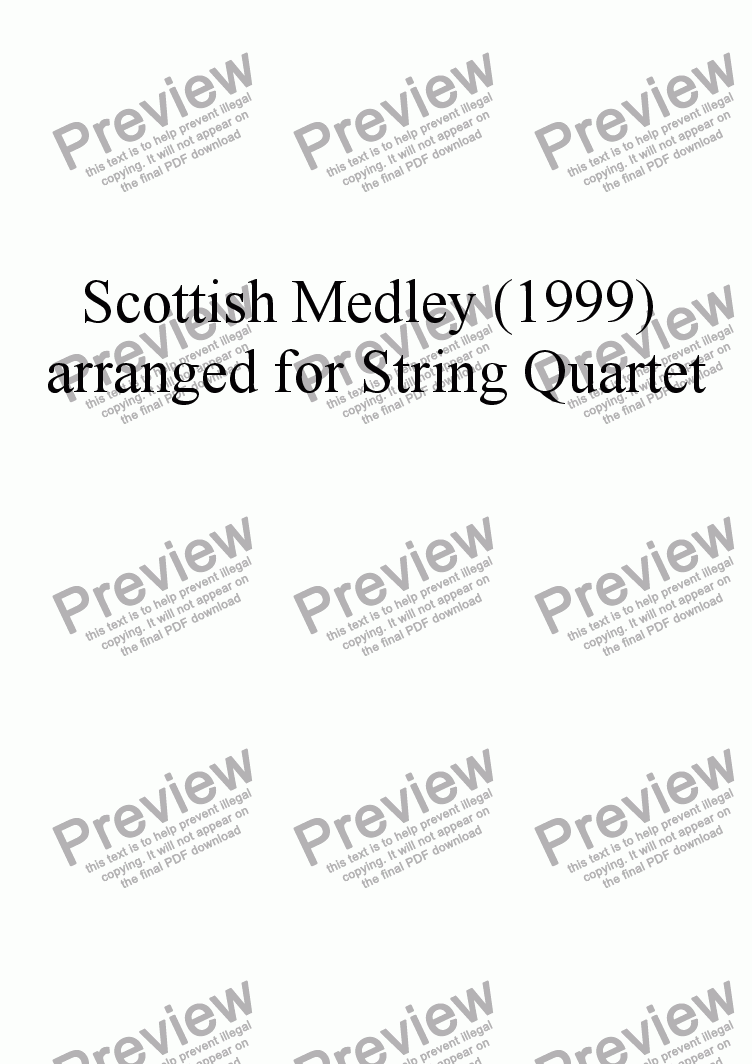 page one of the Violincello part from Scottish Medley (1999) arr for String Trio
