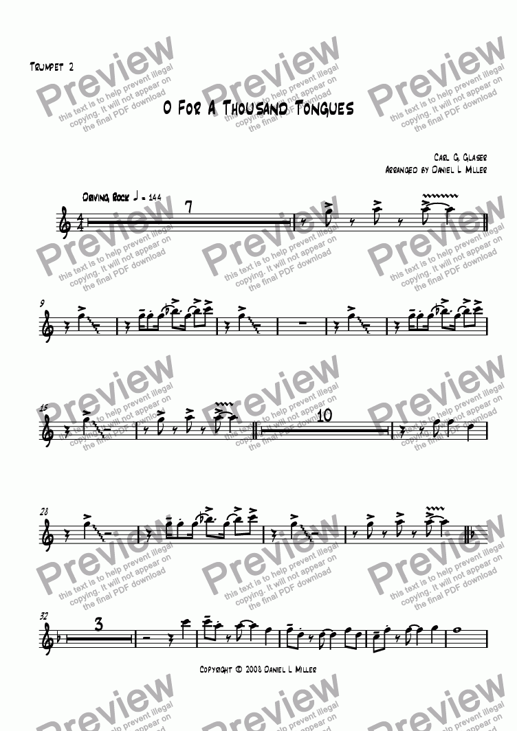 page one of the Trumpet 2 part from O For A Thousand Tongues
