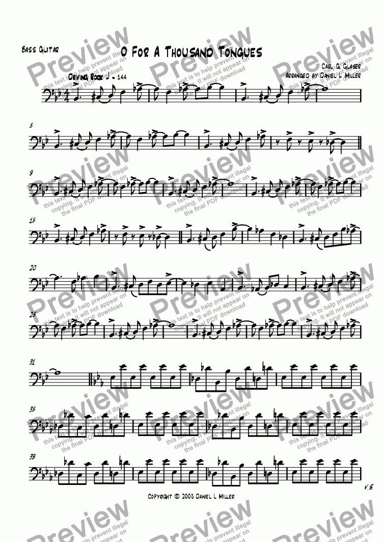 page one of the Bass Guitar part from O For A Thousand Tongues