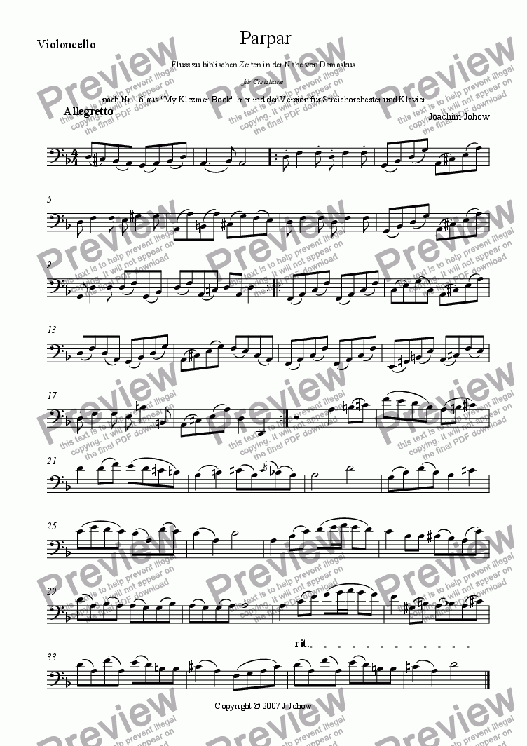 page one of the Vlc part from Parpar Project 10 (Viola, Violoncello and Piano)