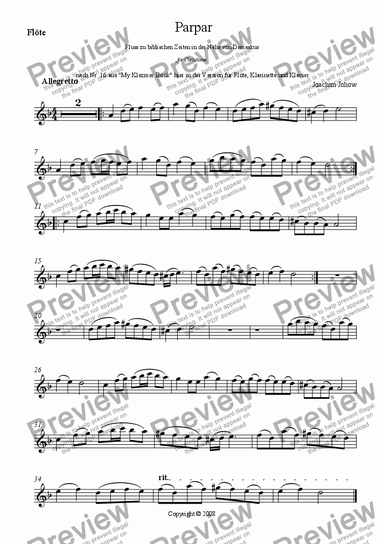 page one of the Fl part from Parpar Project 11 (Flute, Clarinet and Piano)