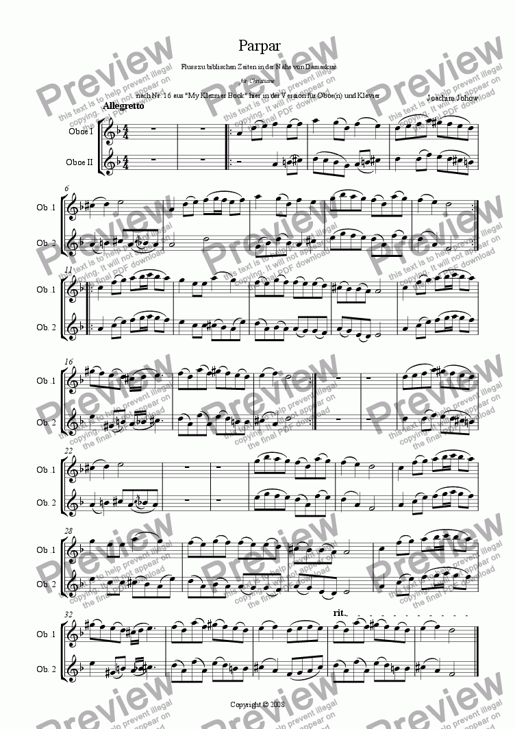 page one of the Ob 1 2 part from Parpar Project 13 ( 1-2 Oboes and Piano)