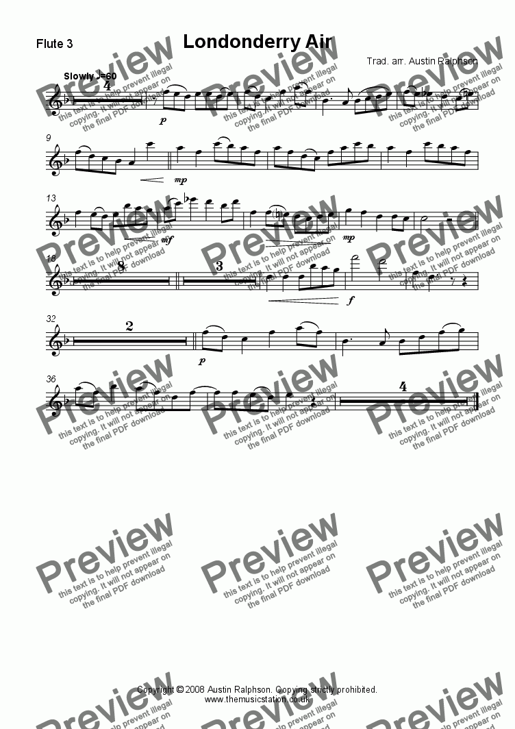 page one of the Flute 3 part from Londonderry Air (Danny Boy) - flute choir