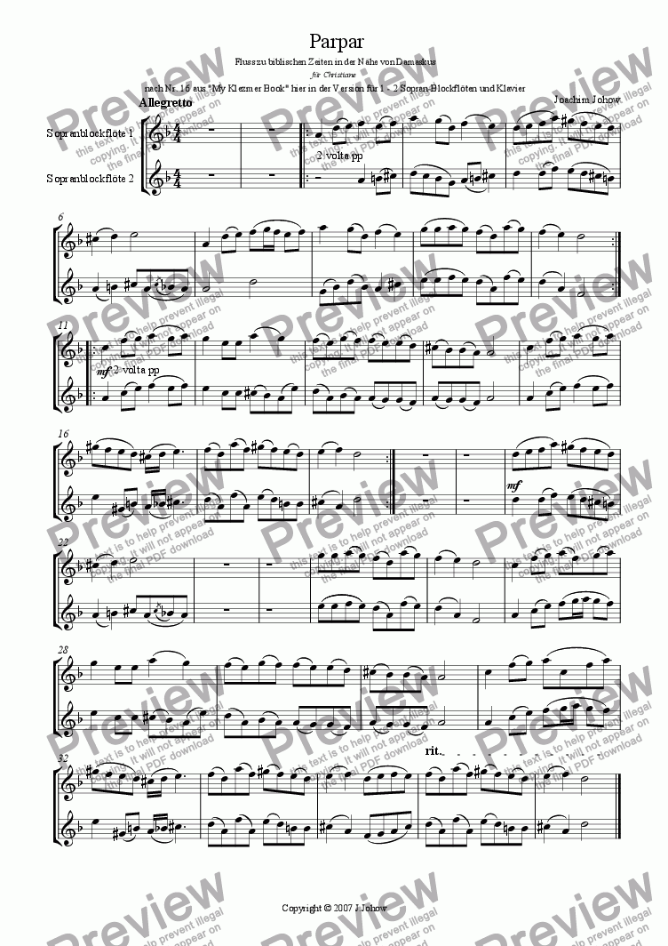 page one of the Sop Rec. part from Parpar Project 20 (1-2 Sop Recorder Piano)