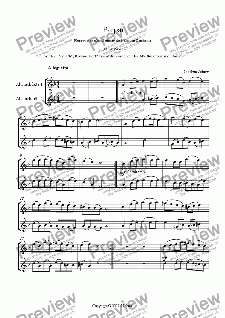 page one of the Alto Rec part from Parpar Project 23 (1-2 Alto Recorders Piano)