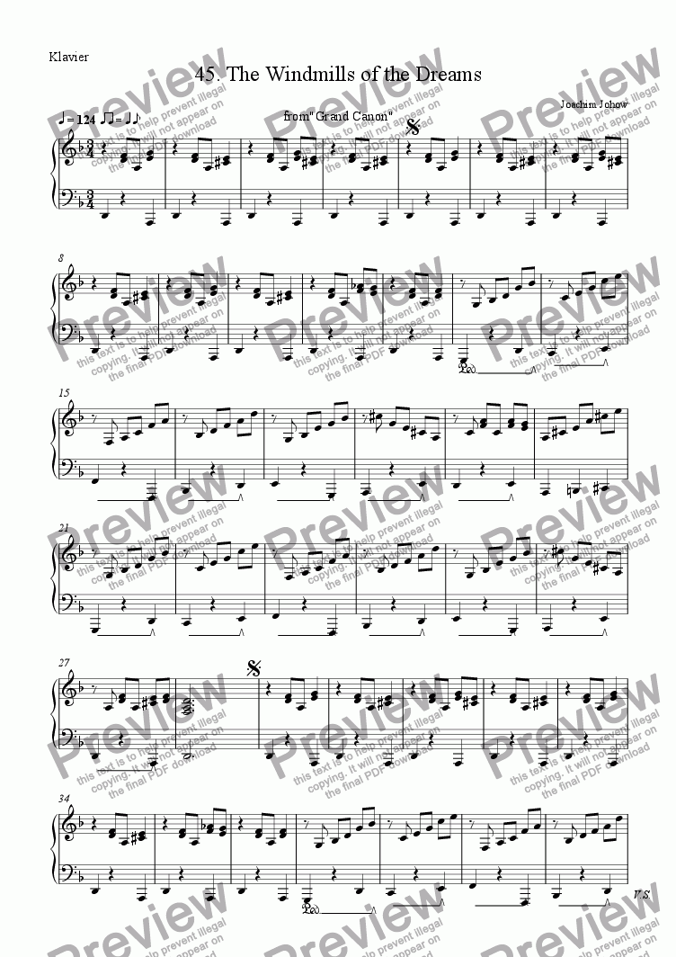 page one of the P part from Grand Canon 45 (The Windmills of Dreams - 3 Vl)