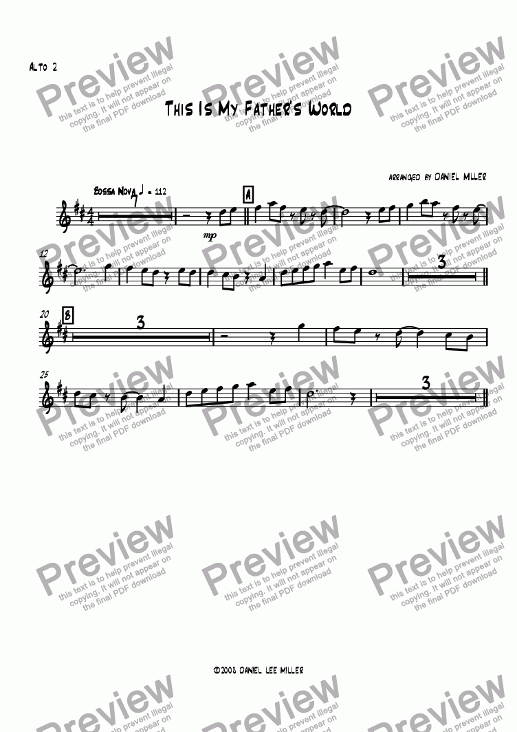 page one of the Alto Sax 2 part from This Is My Father's World