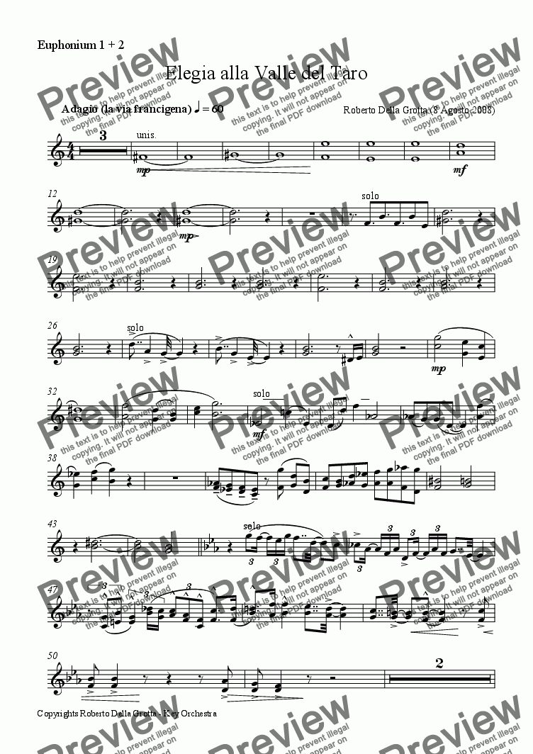 page one of the Euphonium 1 + 2 part from Elegia alla Valle del Taro