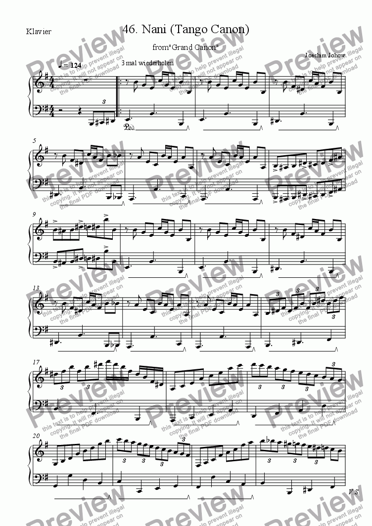 page one of the Piano part from Grand Canon 46 (Nani Tango f�r 3 Vl)