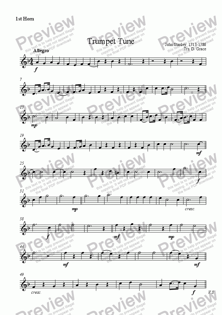 page one of the 1st Horn part from Trumpet Tune [Stanley]