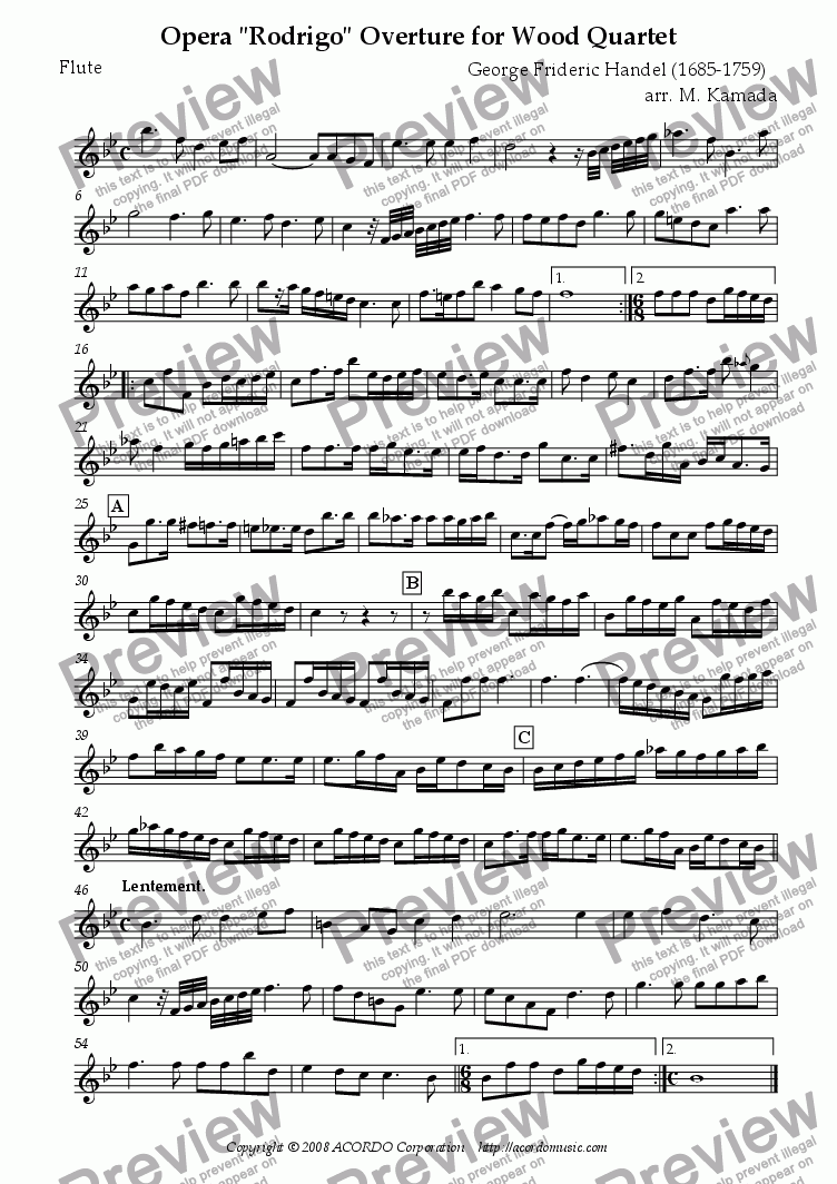 "page one of the Flute part from Opera ""Rodrigo"" HWV.5 Overture for Wood Quartet"