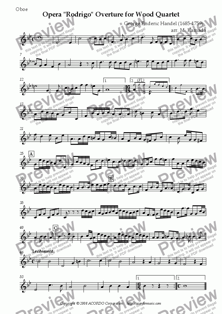 "page one of the Oboe part from Opera ""Rodrigo"" HWV.5 Overture for Wood Quartet"