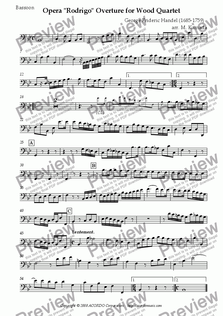 "page one of the Bassoon part from Opera ""Rodrigo"" HWV.5 Overture for Wood Quartet"