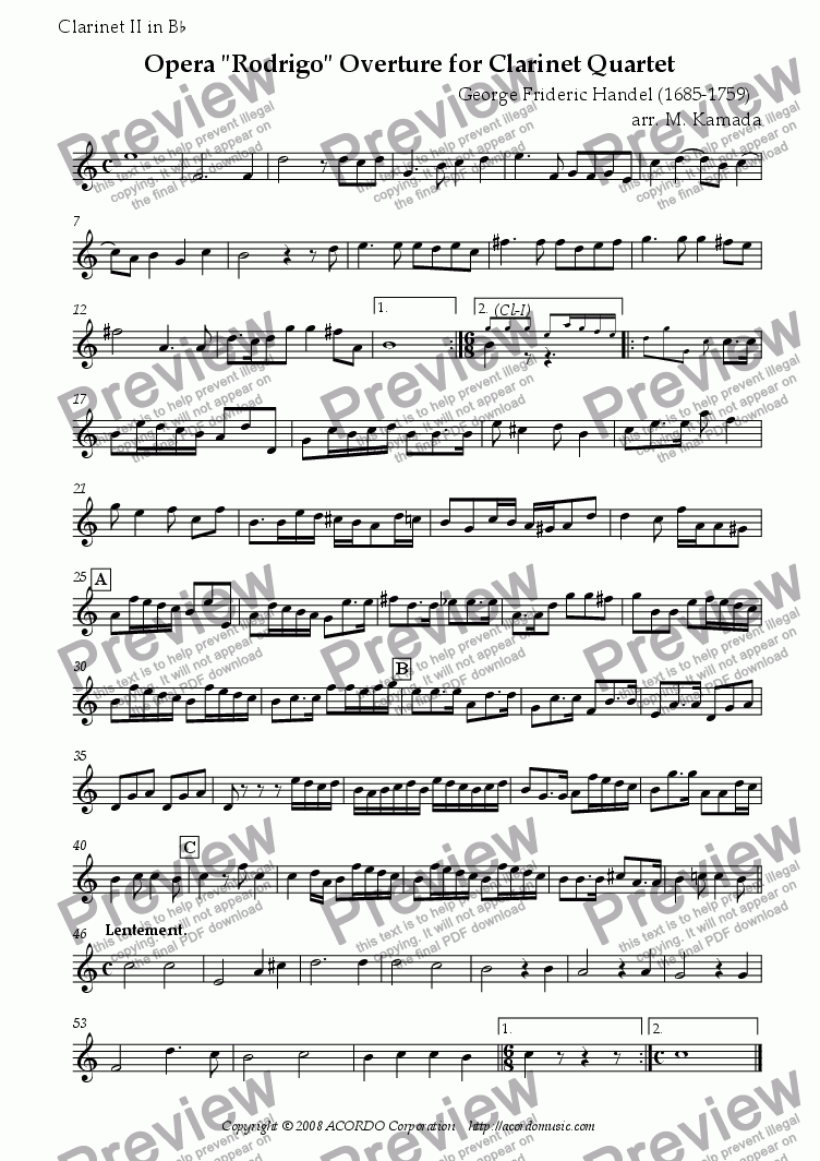 "page one of the Clarinet II in Bb part from Opera ""Rodrigo"" HWV.5 Overture for Clarinet Quartet"