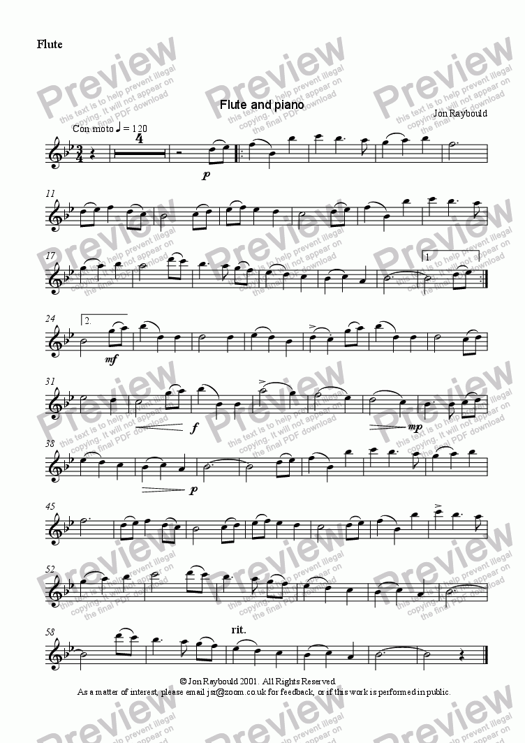 page one of the Flute part from Beside The Gently Flowing Stream