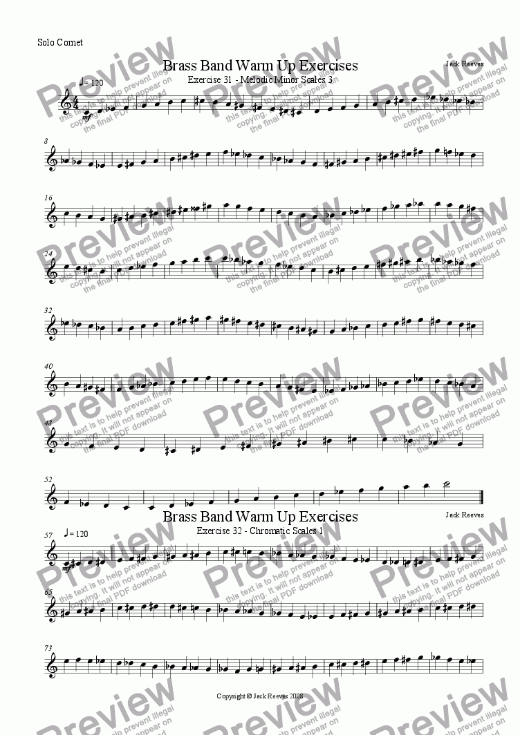 page one of the Solo Cornet part from Brass Band Warm Up Exercises 31-40