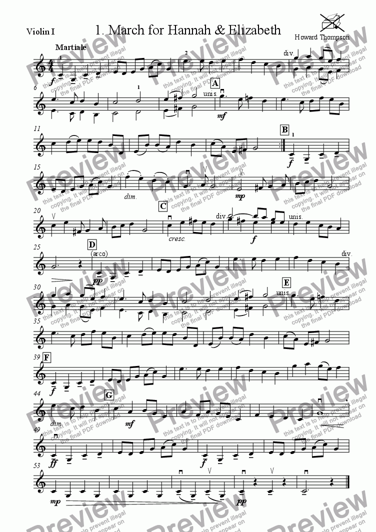 page one of the Violin 1 part from Liquorice Suite  1.  March for Hannah and Elizabeth