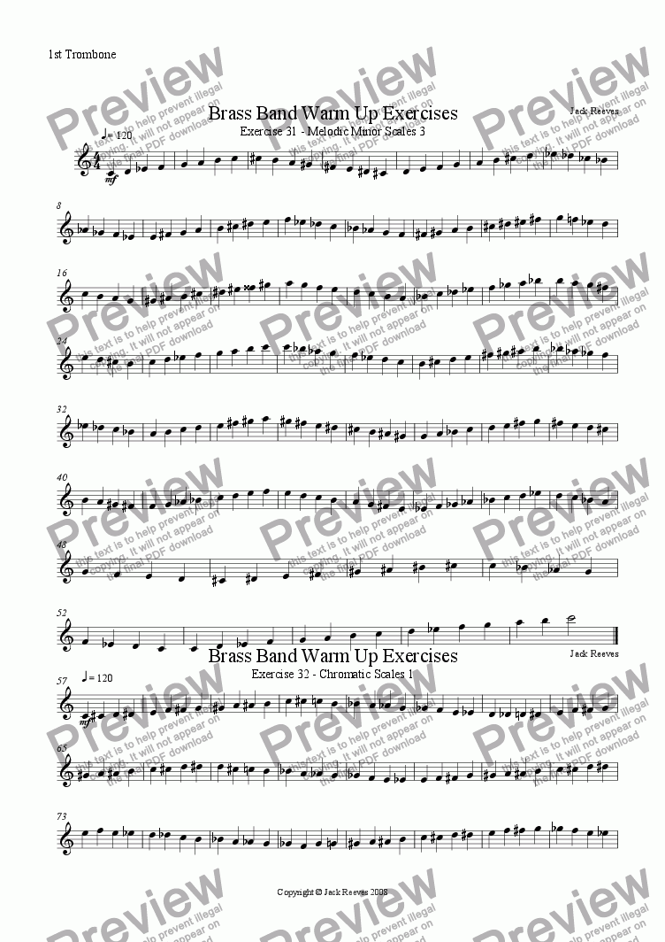 page one of the 1st Trombone part from Brass Band Warm Up Exercises 31-40
