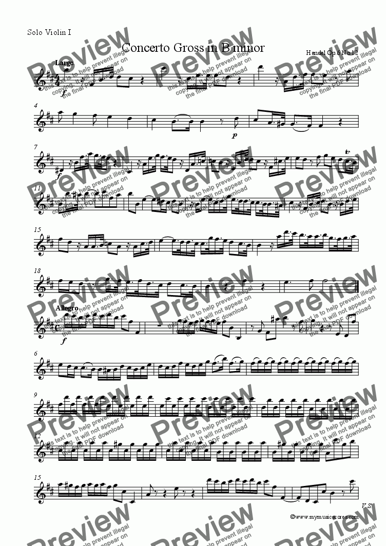 page one of the Solo Violin 1 part from Handel Concerto Grosso Op.6 No.12