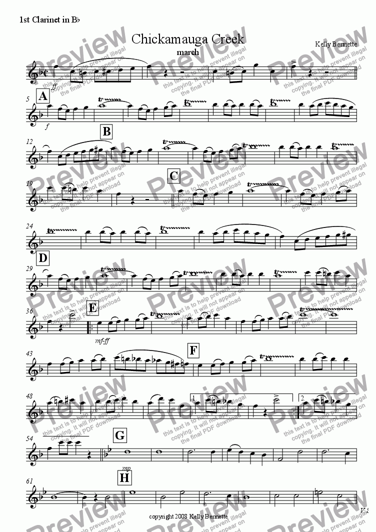 page one of the Clarinet 1 part from Chickamauga Creek march