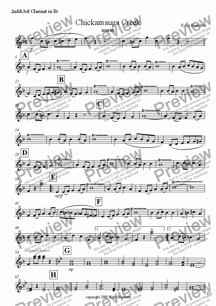 page one of the Clarinet 2&3 part from Chickamauga Creek march