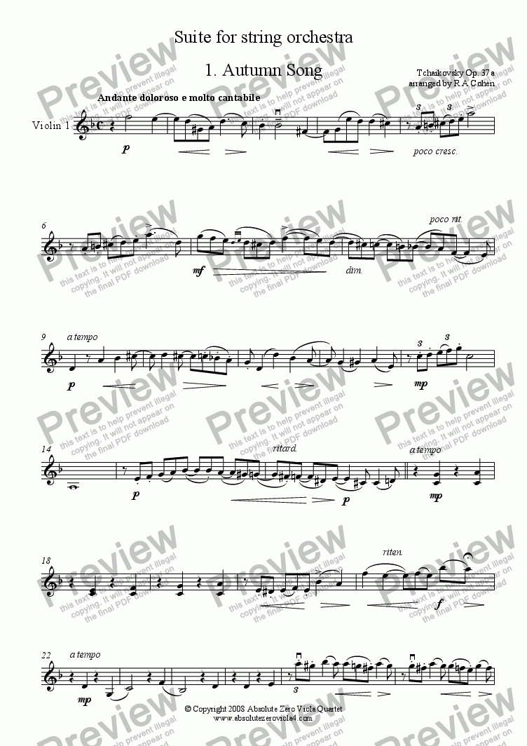 page one of the Violin 1 part from Tchaikovsky - SUITE - for string orchestra