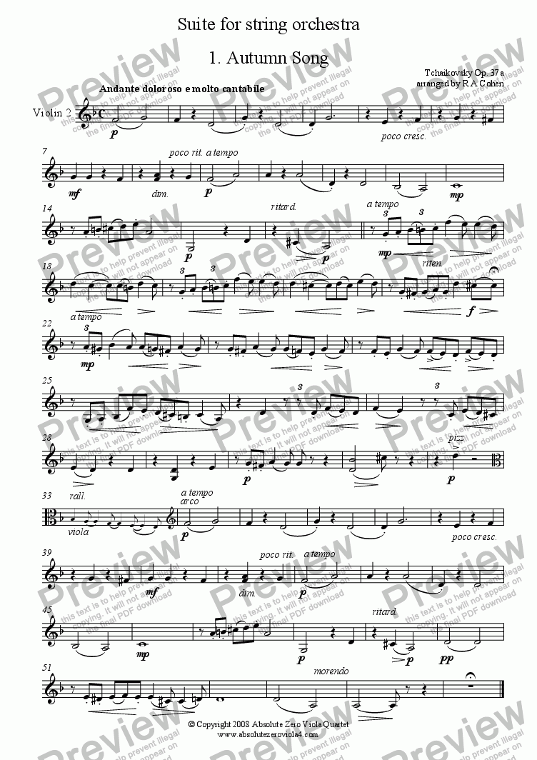 page one of the Violin 2 part from Tchaikovsky - SUITE - for string orchestra