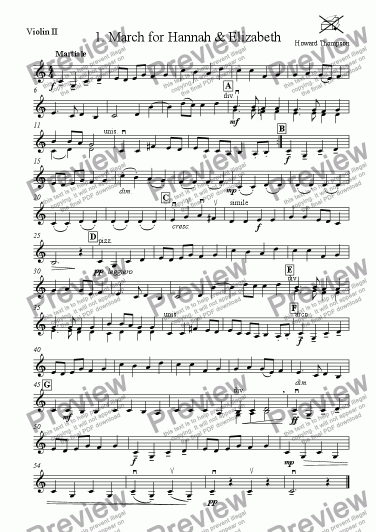 page one of the Violin 2 part from Liquorice Suite  1.  March for Hannah and Elizabeth