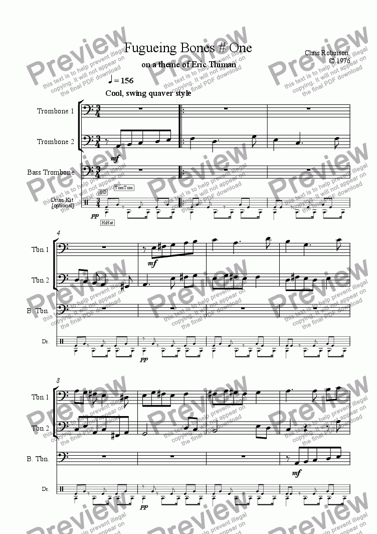 page one of the Trombone 1 part from Fugueing Bones # One - for  Trombone Trio