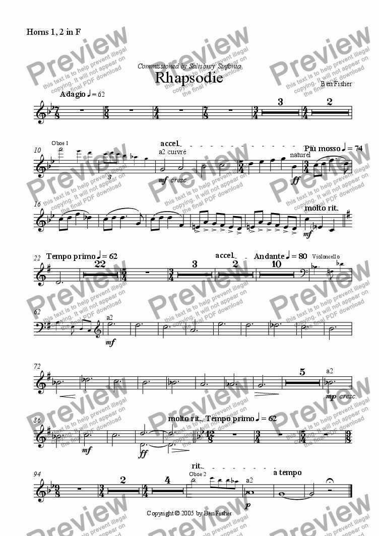 page one of the Horn in F part from Rhapsodie