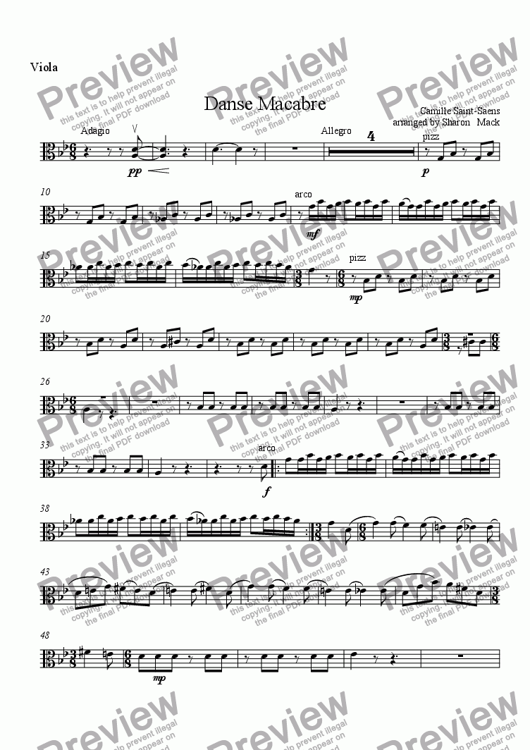 page one of the viola part from Danse Macabre