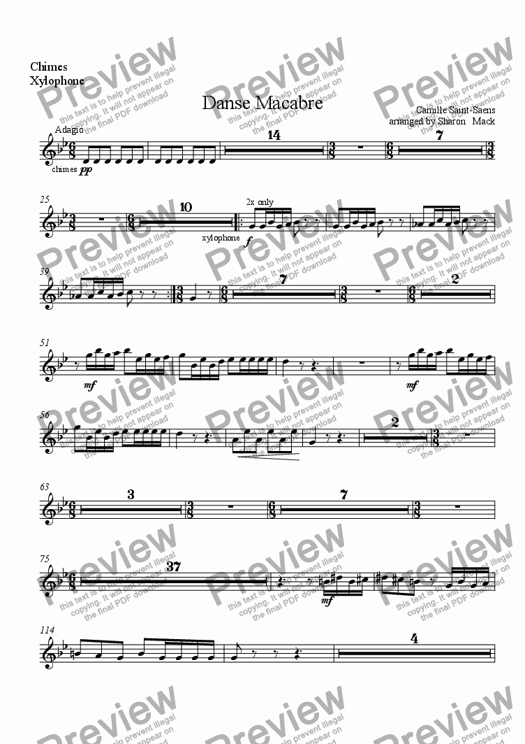 page one of the xylophone part from Danse Macabre