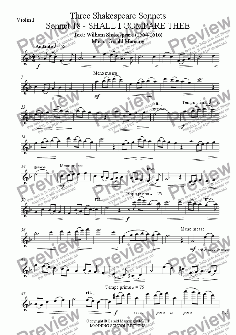 page one of the Violin I part from MANNING, G. - Three Shakespearian Sonnets - Op.30 - for Tenor, Horn & Strings