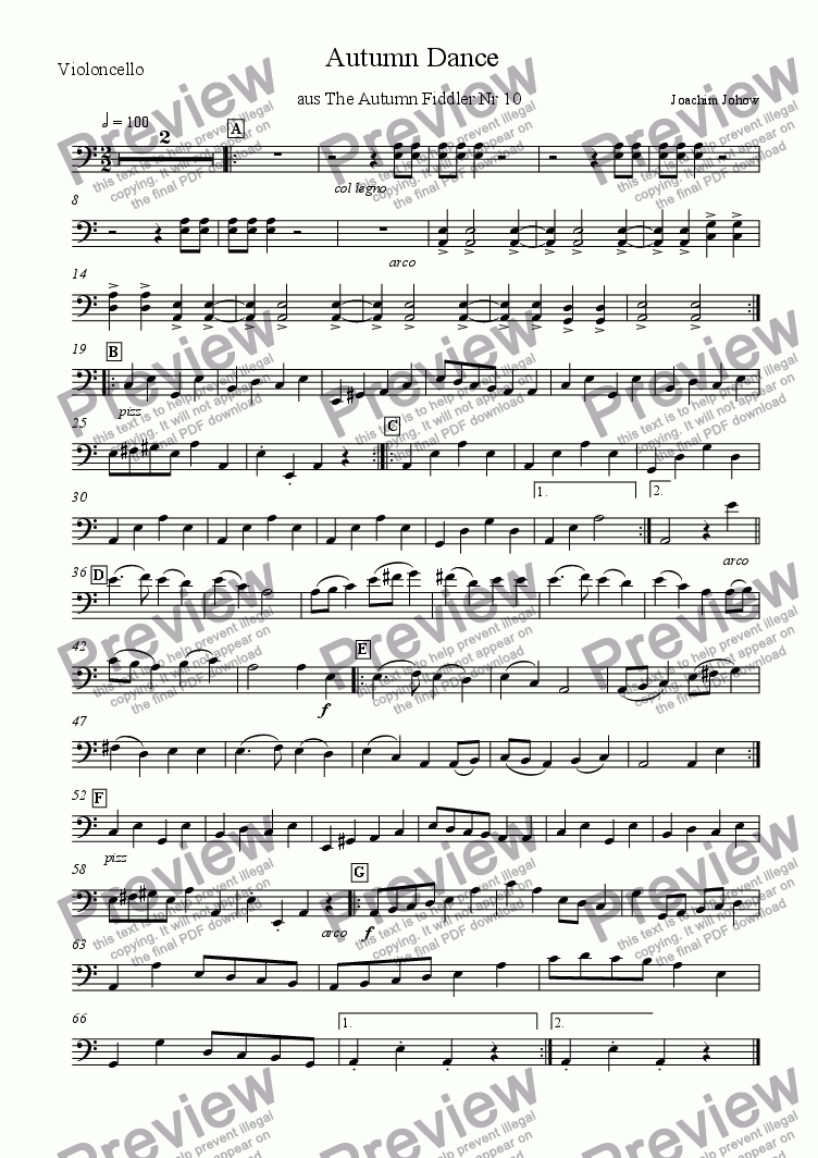 page one of the Vlc part from My School Orchestra (10 Autumn Dance)