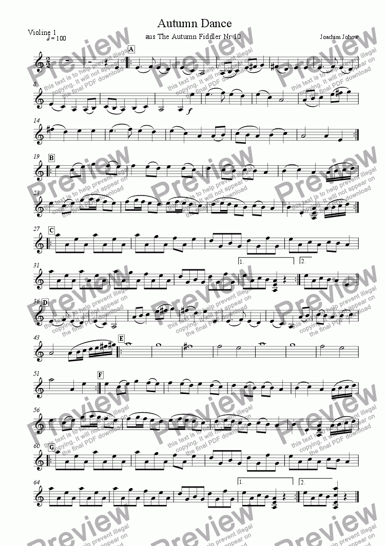 page one of the 1.  Vl part from My School Orchestra (10 Autumn Dance)