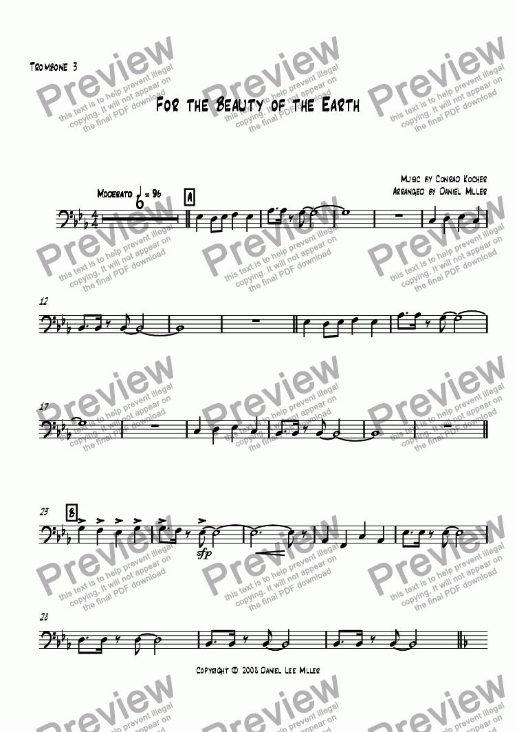 page one of the Trombone 3 part from For the Beauty of the Earth