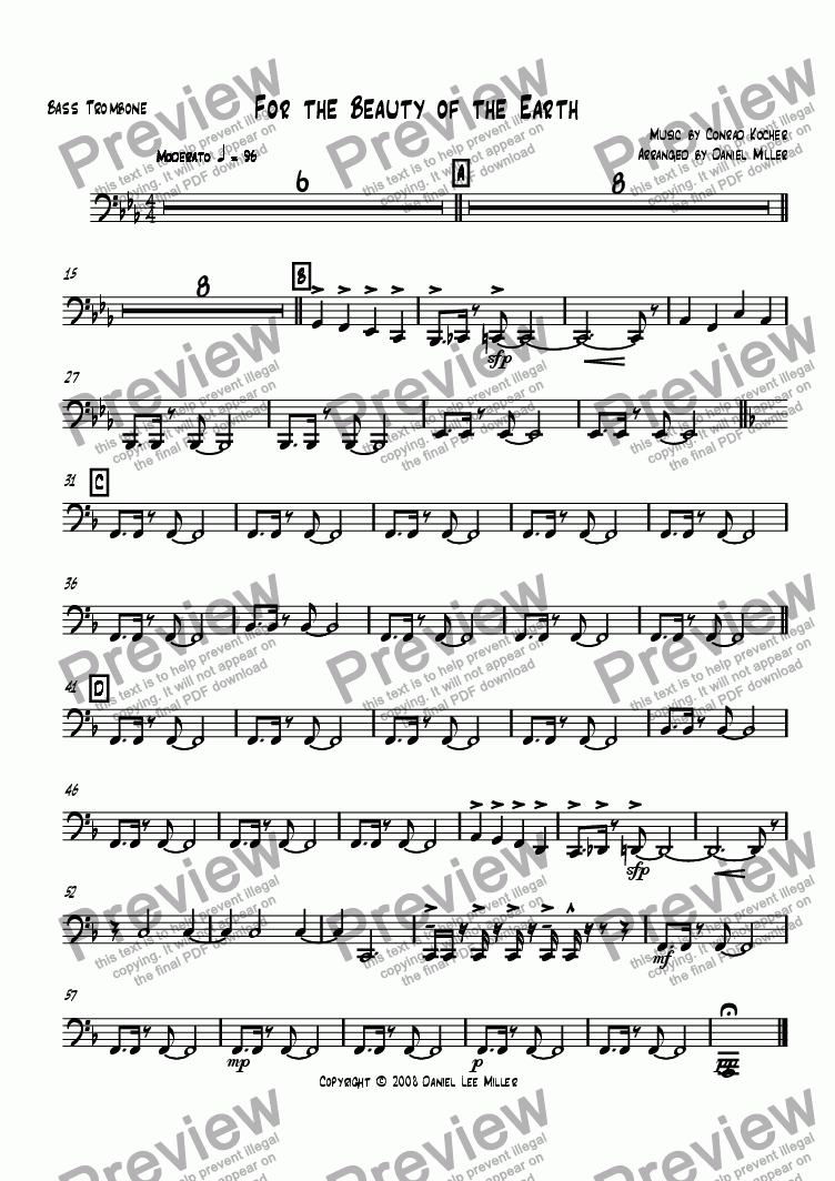 page one of the Bass Trombone part from For the Beauty of the Earth