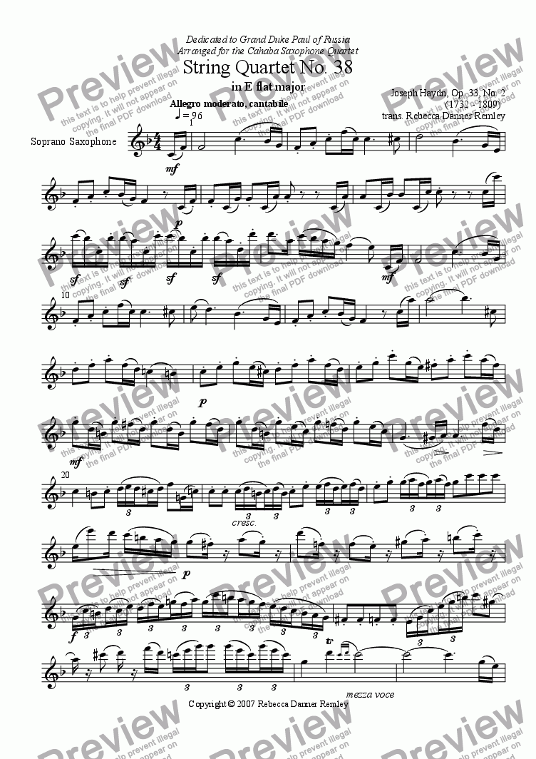 page one of the Soprano Saxophone part from String Quartet No. 38 in Eb Major-Op.33, no. 2 (saxophone quartet)